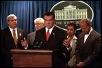 Homeland Security Adviser Tom Ridge holds a press conference during a homeland security briefing October 22, 2001.