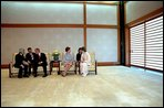The President and Mrs. Bush talk with the Emperor and Empress of Japan in the Resui South Room of the Imperial Palace Tuesday, February 19, 2002 in Tokyo. White House photo by Susan Sterner.