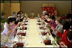 Mrs. Bush is honored by a toast from her hostess Kiyoko Fukuda and a group of prominent women from Tokyo during a special luncheon in her honor at Akasaka Palace Monday, February 18, 2002 in Tokyo. White House photo by Susan Sterner.