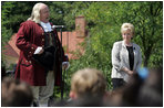 Lynne Cheney looks on as Benjamin Franklin address a group of fourth graders from local Fairfax County public schools during a Constitution Day 2005 celebration at George Washington's Mount Vernon Estate Friday, September 16, 2005. Mrs. Cheney hosted the event which celebrates the anniversary of the signing of the U.S. Constitution 218 years ago.