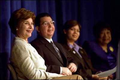 Laura Bush attends an event for the New Teacher Project in New Orleans, La., Feb. 19, 2003. White House photo by Susan Sterner.