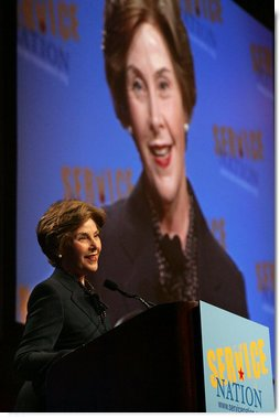 """Mrs. Laura Bush speaks to the ServiceNation Summit at the Hilton New York Hotel Grand Ballroom in New York City on Sept. 12, 2008. Mrs. Bush cited President Bush's challenge to service and added that """"Americans today have more opportunities to volunteer through government-supported national service programs."""" White House photo by Joyce N. Boghosian"""