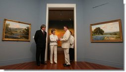 Mrs. Laura Bush tours the Ogden Museum for Southern Art Friday, May 30, 2008, in New Orleans. Mrs. Bush viewed paintings of Southern landscape, New Orleans' famed French Quarter, and other works of art in the museum's gallery.  White House photo by Shealah Craighead