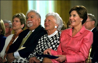 Laura Bush and former First Lady Barbara Bush participate with Dr. Vartan Gregorian in the White House conference on School Libraries, June 4, 2002. White House photo by Susan Sterner