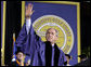 """President addresses the 2006 graduation class at Mississippi Gulf Coast Community College in Biloxi, Miss., Thursday, May 11, 2006. """"I am proud to stand before some of the most determined students at college or university in America,"""" said the President. """"Over these past nine months you have shown a resilience more powerful than any storm."""" White House photo by Paul Morse"""