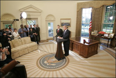 President George W. Bush announces from the Oval Office the nomination of Supreme Court justice nominee John Roberts as his nominee to be U.S. Supreme Court Chief Justice, Monday morning September 5, 2005.