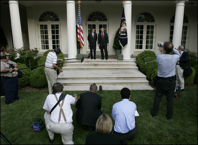 President George W. Bush and U.S. Supreme Court Justice nominee John G. Roberts, appear together Wednesday morning, July 20, 2005 for a joint statement to the media in the Rose Garden at the White House.