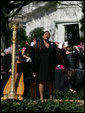 """Soprano Kathleen Battle sings """"The Lord's Prayer,"""" Wednesday, April 16, 2008, during the arrival ceremony in honor of Pope Benedict XVI on the South Lawn of the White House. White House photo by Shealah Craighead"""