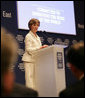 """Mrs. Laura Bush speaks at the Egyptian Education Initiative meeting Sunday, May 18, 2008, at the World Economic Forum – International Congress Centre in Sharm El Sheikh, Egypt. Mrs. Bush told her audience, """"Advances in technology and global communication are opening new markets and expanding opportunities for people around the world. The Egyptian Education Initiative recognizes that improved education is the key to taking advantage of these opportunities."""" White House photo by Shealah Craighead"""