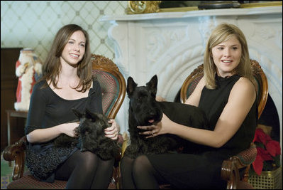 Barbara and Jenna Bush join Miss Beazley and Barney, during a visit to the Lincoln Bedroom Sunday, Nov. 25, 2007, for the taping of Barney Cam.