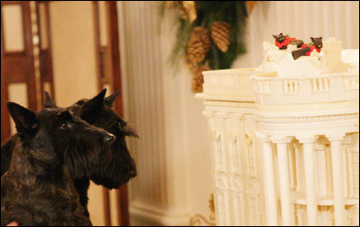 Barney and Miss Beazley take a close look at the 2007 white chocolate gingerbread White House in the East Room, Wednesday, Nov. 28, 2007, with a likeness of themselves on the roof.