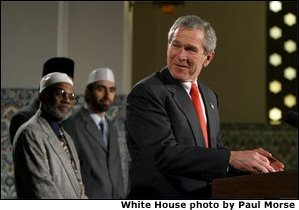 President George W. Bush marks Eid al-Fitr, the end of the Muslim holy month of Ramadan, with an address at the Islamic Center of Washington, D.C., Thursday, Dec. 5.