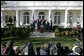 President George W. Bush stands with members of his Cabinet in the Rose Garden at the White House, Wednesday, Jan. 3, 2007, as he addresses members of media following the first Cabinet meeting of 2007. White House photo by Eric Draper