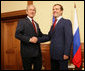 """President George W. Bush shakes hands with President-elect Dmitry Medvedev at the top of their meeting Sunday, April 6, 2008, at the State Residence of the President of Russia, Bocharov Ruchey in Sochi, Russia. President Bush thanked the President-elect, saying, """"I'm looking forward to getting to know you, so we'll be able to work through common problems and find common opportunities."""" White House photo by Chris Greenberg"""