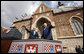 President George W. Bush and Prime Minister Ivo Sanader of Croatia, wave to the thousands who flocked to St. Mark's Square in downtown Zagreb Saturday, April 5, 2008, to see and hear the U.S. President. White House photo by Eric Draper