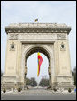 The Arcul de Triumf, designed by architect Petre Antonescu and located in north Bucharest, is 27 meters high and originally was built from wood after Romania gained its independence in 1878 so that victorious troops could march under it. Rebuilt and inaugurated in 1936, the current arch is a gateway to this year's 2008 NATO Summit. White House photo by Chris Greenberg