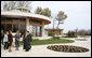 Mrs. Laura Bush joins Mrs. Maria Basescu, in dark dress, spouse of Romanian President Traian Basescu, at Protocol Villas Neptun-Olimp, the presidential retreat, in Neptun, Romania, Wednesday, April 2, 2008. White House photo by Shealah Craighead