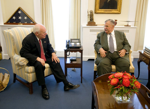 Vice President Dick Cheney meets with President Jalal Talabani of Iraq, Wednesday, Oct. 3, 2007, in the West Wing of the White House. White House photo by David Bohrer