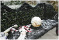 As Barney and Miss Beazley frolic among the holiday decorations, their toys are left outside in the snow Monday, Dec. 5, 2005.