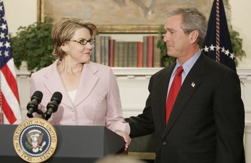 Margaret Spellings, Assistant to the President for Domestic Policy, makes remarks after being nominated to the position of Secretary of Education by President George W. Bush during a ceremony in the Roosevelt Room at the White House on November 16, 2004. White House photo by Paul Morse.
