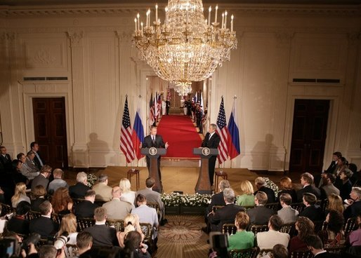President George W. Bush and Russian President Vladimir Putin appear together at a joint news conference in the East Room of the White House, Friday, Sept. 16, 2005 in Washington. White House photo by Eric Draper
