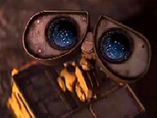 WALL-E looks up toward the sky