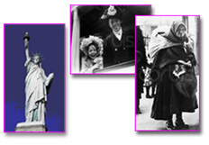Dipictions of immigrants coming to America: 1) Statue of Liberty 2) young man and young girl smiling from a window 3) older woman with a scarf carrying a bundle on her back