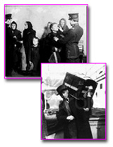 Dipictions of immigrants coming to America: 1) official looking in childs' mouth (Ellis Island) 2) man carrying a truck on his shoulder
