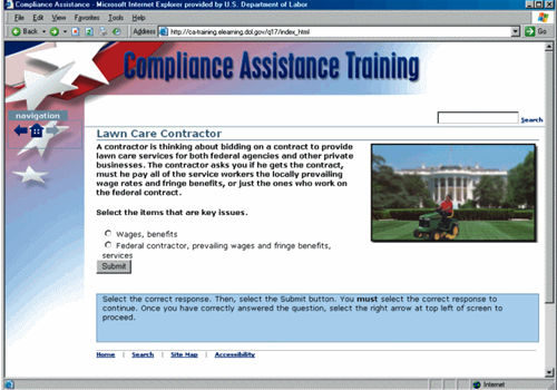 Screen shot from the Compliance Assistnce Training website