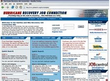 Screen shot of the Hurricane recovery job connection web site