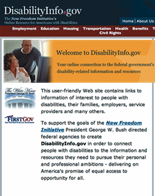 Screen shot from disabilityinfo.gov