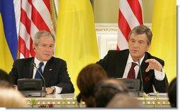 President George W. Bush and Ukraine's President Viktor Yushchenko attend a joint press availability Tuesday, April 1, 2008, during a joint press availability at the Presidential Secretariat in Kyiv.  White House photo by Chris Greenberg