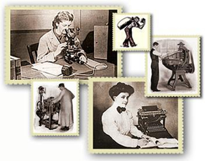 Montage of labor images taken from documents in the Wirtz Labor Digital Library. Clockwise starting from top left-hand corner: Woman scientist viewing micro-organisms through a microscope; Illustration of a sailor walking with a book and a large bag; Cobbler working on an ideal clicking machine; Secretary posing next to a typewriter with a pad of paper and pencil; Cobbler working on a U.S.M. Co. lasting machine.