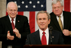 President Bush speaking to a joint session of Congress.