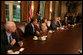 President George W. Bush speaks during a meeting with Bicameral and Bipartisan members of Congress Thursday, Sept. 25, 2008, in the Cabinet Room of the White House. Included in the meeting with the President are, from left: Sen. John McCain, R-Ariz., House Minority Leader John Boehner, R-Ohio, House Speaker Nancy Pelosi, D-Calif.; Senate Majority Leader Harry Reid, D-Nev.; Senate Minority Leader Mitch McConnell, R-Ky., and Sen. Barack Obama, D-Ill. White House photo by David Bohrer