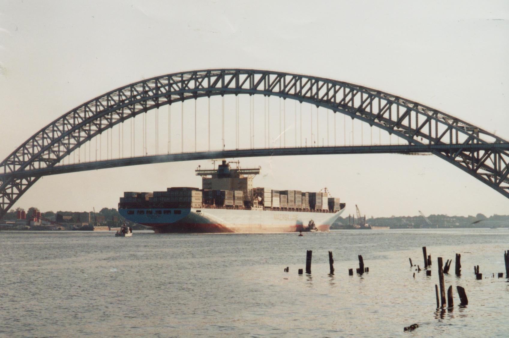 Container Ship under the Bayonne Bridge