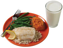 Dinner with sweet potato and green beans