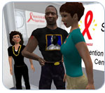 Screenshot of three second life avatars