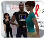 Screenshot of three second life avatars