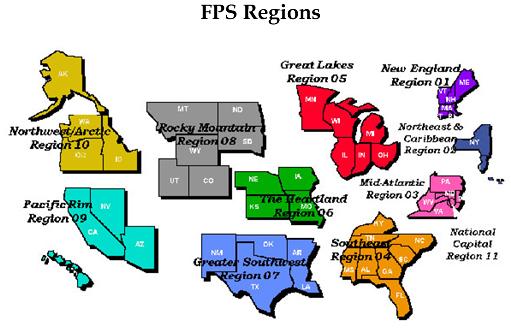 Map of FPS regions
