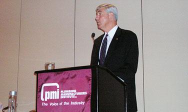 Assistant Secretary William G. Sutton addresses the Plumbing Manufacturers Institute's Fall Meeting.