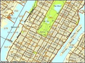 Reference Map showing Manhattan Island, New York