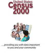 """Photo of people around a computer with the caption, """"Census 2000, providing you with data important to you and your community"""""""
