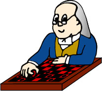 Ben playing checkers.