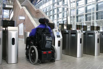 Accessible faregates at the Massachusetts Bay Transportation Authority. Visit MBTA on the web at: http://www.mbta.com/