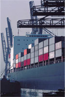 Cargo ship with containers