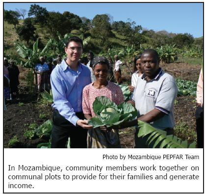 In Mozambique, community members work together on communal plots to provide for their families and generate income.