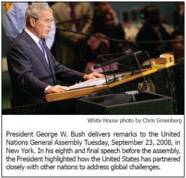 President George W. Bush delivers remarks to the United Nations General Assembly Tuesday, September 23, 2008, in New York.
