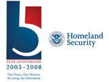 Photo of U.S. Department of Homeland Security Fifth Year Anniversary logo