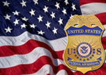 Image of waving American flag and a Federal Air Marshal badge